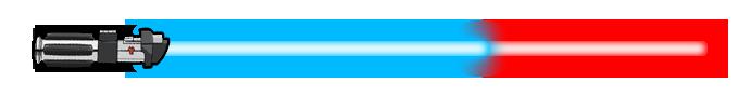 Sabre laser de la satisfaction ou taux de midi-chloriens. 61% bleu 39% rouge